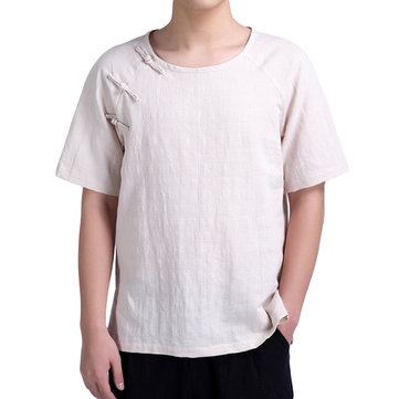 Mens Breathable Cotton Linen Short Sleeve T-shirt