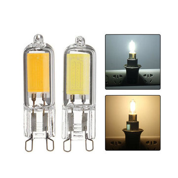 G9 2W COB 200LM Pure White Warm White Glass LED Light Bulb AC220V