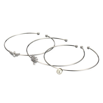 JASSY® 3 Pcs/set 925 Sterling Silver Bracelet Tree of Life Angel Wings Pearl Bangle Bracelet