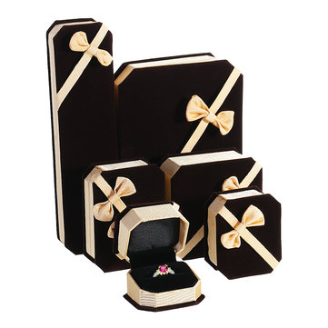 Velvet Engagement Wedding Necklace Ring Pendant Jewelry Box Storage Box