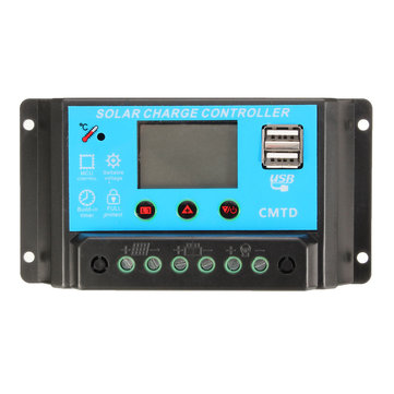 LCD USB 20A 12/24V Solar Power Regulator Charge Controller Battery Protection