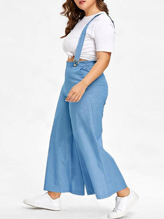 Plus Size Women Casual Loose Wide Leg Pants Jumpsuit