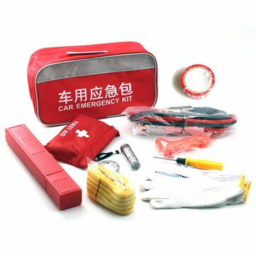 Car Emergency Flashlight Hammer Battery Cable Tire Pressure Gauge Towing Rope Screwdriver Gloves