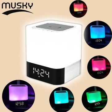 Musky DY-28 Touch Sense Mini Bluetooth Speaker TF AUX Colorful LED Light Alarm Clock For Bluetooth Devices