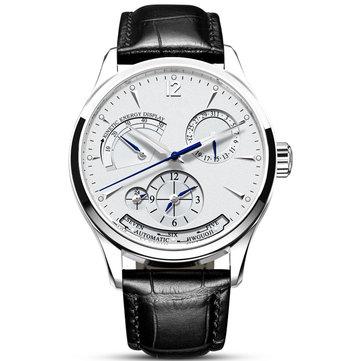 CARNIVAL C19 Multifunction Automatic Mechanical Watch Calendar Genuine Leather Strap Men Watch