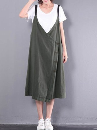 M-5XL Casual Sleeveless Strap V-neck Loose Women Mid-calf Dresses