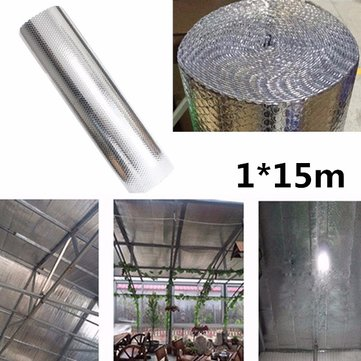 1*15m Sunscreen Aluminum Feflective Film Double Foil Bubble  Aluminum Loft Insulation Film Roll