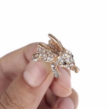 3.5mm Charms Cute Crystal Diamond Bling Gold Sliver Elephant Phone Earphone Audio Dust Plug