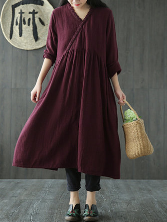 Vintage Solid Color V-Neck Lace Patchwork Spring Midi Dress For Women