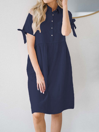 Women Casual Lapel Short Sleeve Shirt Dress