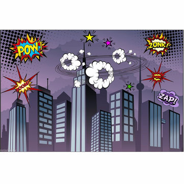 7x5FT Vinyl Superhero City Fighting Photography Prop Studio Background Backdrop