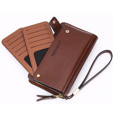 Men Genuine Leather Clutches Bag Fashion Long Zipper Wallet Phone Bag