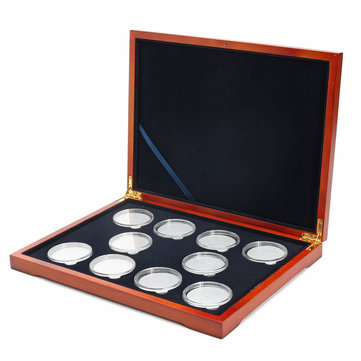 Rectangle Oak Coin Storage Case 10 Coins Organizer Holder NGC PCGS Grade Collection Display Box