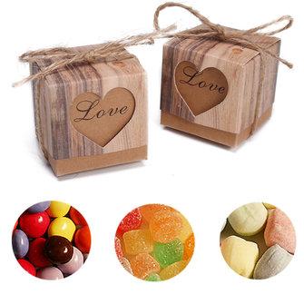 50st Heart In Love Rustieke Kraft Candy Box Burlap Jute Chic Wedding Favor Party Gift Supplies