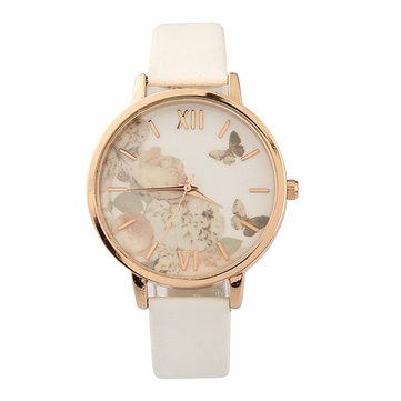 AL1080 Flower Bird Picture Women Watch Fine Leather Strap Quartz Watch
