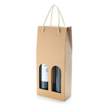 KCASA KC-PC03 2-bottle Corrugated Wine Gift Bag Alcohol Liquor Package Holder Drinks Bottle Carrier