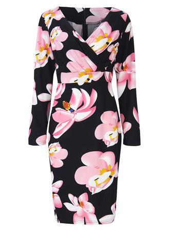 Mulheres v-neck floral impresso / cor pura plissado vestido de manga longa