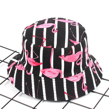 Kvinnor Skriv ut Flamingo Duk Dubbelsidig Slitage Outdoor Sunshade Fisherman Hat