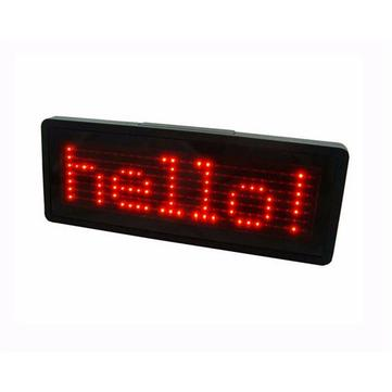 Scrolling Rechargeable Red LED Name Badge for Business Advertising Message Display