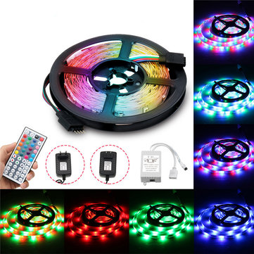 5M RGB 3528SMD Not-waterproof LED Strip Lights + 44 Keys Remote Control US EU Power DC12V