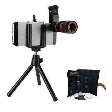 5 en 1 lentille de la caméra kit de 8x télescope lentille+téléobjectif 2x+grand angle+objectif fisheye+macro+trépied+clip