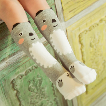 Lovely Baby Kids Girls Cartoon Bear Knee Stockings Cotton Casual Socks 0-3 Years