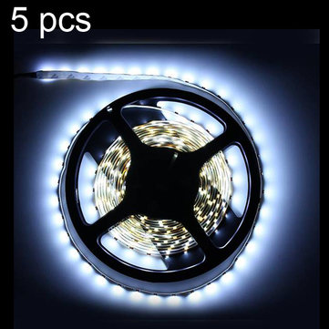 5X 5M White 3528 SMD LED Strip Light Non-Waterproof 12V DC 300 LED