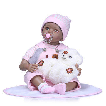NPK 55CM Reborn Baby Doll Lifelike Soft Silicone Vinyl Real Gentle Touch Baby Toys For Kids