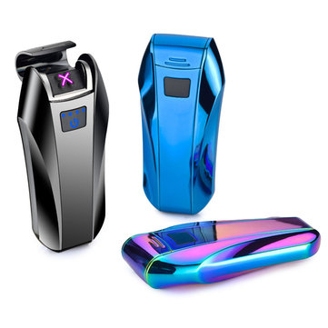 KCASA Double Arc Power Display Timely USB Charge Lighter Flameless Electronic Plasma Sensing Lighter