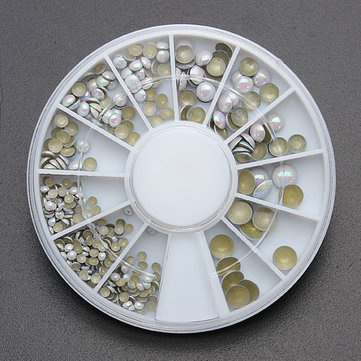 4 Sizes White Multicolor Acrylic Rhinestone Nail Decoration Wheel