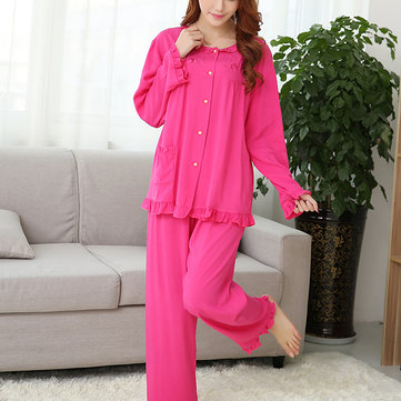 Women Comfy Embroidery Round Collar Long Sleeve Sleepwear Breathable Soft Nightwear