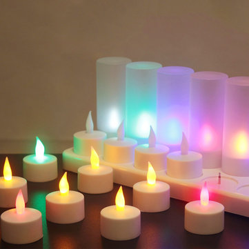 12PCS Rechargeable Colorful Flameless Flickering Tea Candle Light + Holder UK Plug AC220V