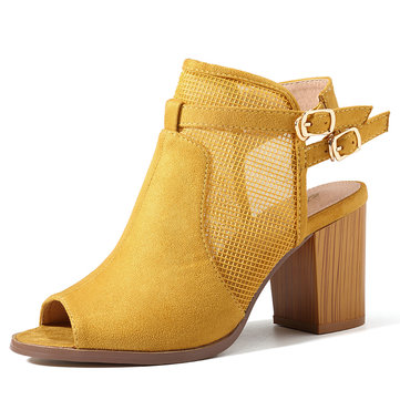 SOCOFY Hollow Out Suede Chunky Heel Sandals