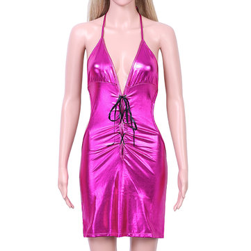 Charming Women Patent leather Backless Adult Sexy lingerie