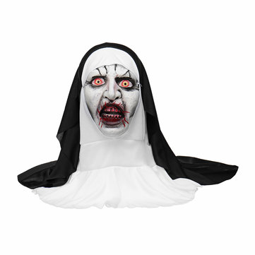 Halloween The Nun Full Head Cosplay Horror Mask Valak Scary Zombie Dress Makeup