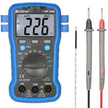 HoldPeak HP-39B Backlight LCD Multi-functional Digital Multimeter DC/AC Voltage Current Meter Resistance Temperature Battery Diode Continuity Tester with Wrist Strap