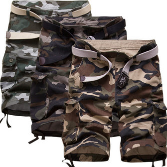 Mens Plus Size Summer Casual Cotton Outdoor Military Camouflage Cargo Shorts