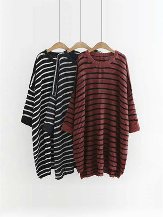 Plus Size Casual Women Stripe Batwing Sleeve Sweaters