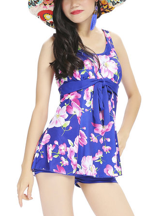 Women Floral Pattern Two Pieces Swimsuit