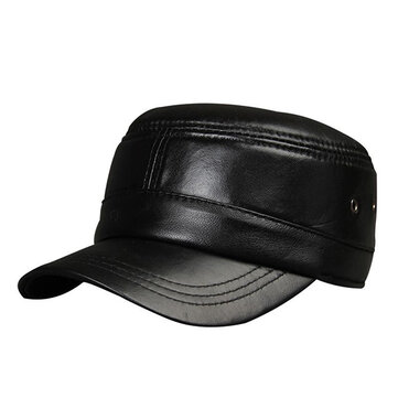 Mens Black Sheepskin Baseball Cap Adjustable Winter Warm Outdoor Sports Windproof Hats