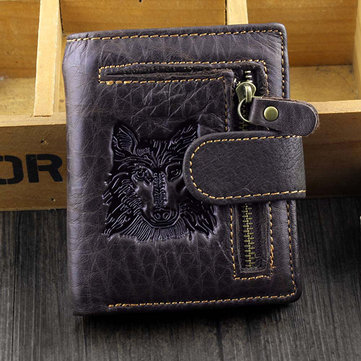Men Genuine Leather Retro Wolf Printed Short Wallet