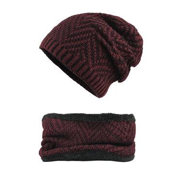 Winter Thicken Plus Velvet Beanie Caps with Scarf Set
