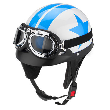 Motorcycle One Face Half Helmet 3 Button with Sun Visor Goggles Blue White