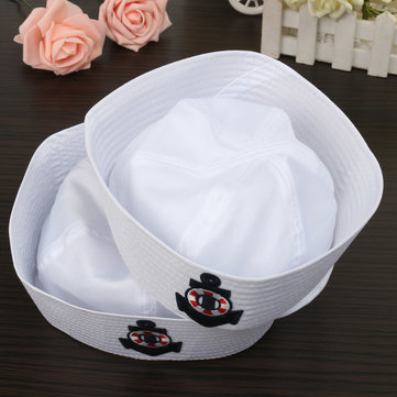 Sailors Navy Hat Cap With Anchor Emblem Marine Costume Party Kids Adult