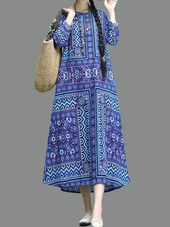 Women Folk Style Printed Long Sleeve Dress with Pocket