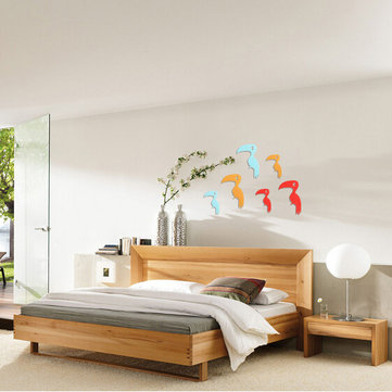 3D Birds Flash Wall Decals 2 Pcs 8 Colors Acrylic Home Bedroom Living Room Wall Stickers Decor