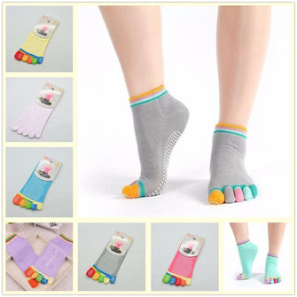 Women Girl Yoga Gym Message Non Slip Socks Five Toes Full Grid Foot Deodorant Hosiery