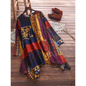 Ethnic Floral Print Pleated Irregular Blouse