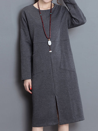 Winter Solid Stand Collar Long Sleeve Elegant Women Dress