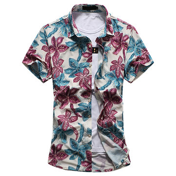 Mens Big Size Summer Printing Casual Loose Cotton Turn-down Collar Short Sleeve Shirt